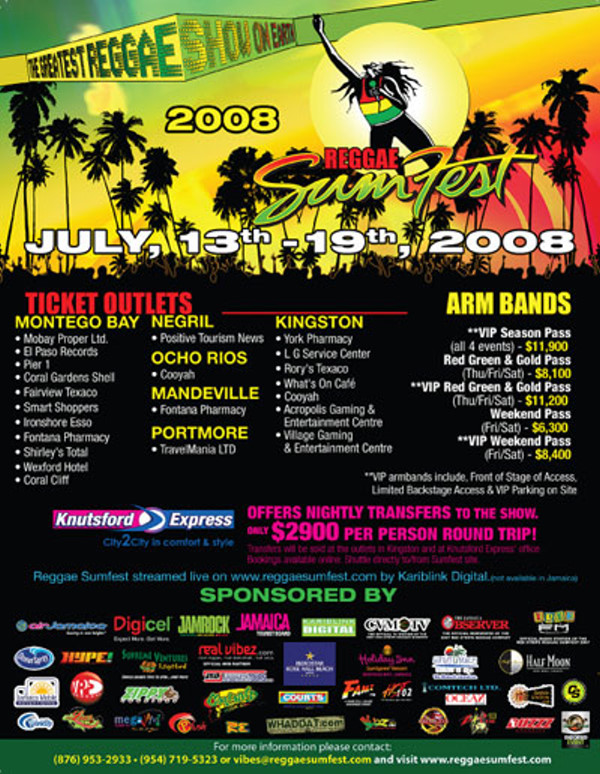 Reggae Sumfest 2008 Flyer- Back